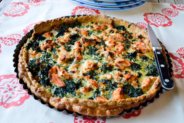 and salmon quiche with a spelt oat and almond crust