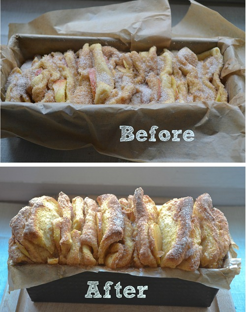 Pull-Apart Bread Before After