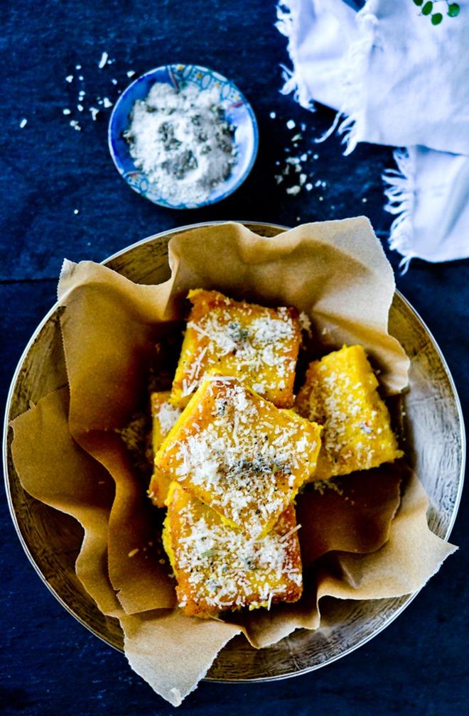 Parmesan Polenta Squares with Sage Salt