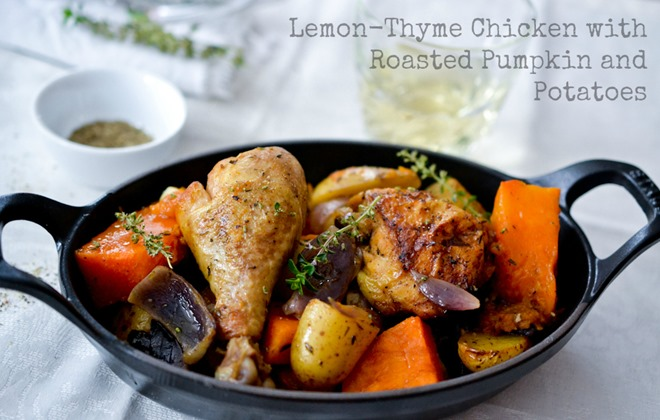 Lemon-Thyme Chicken with Roasted Pumpkin and Potatoes