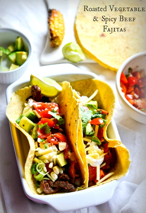 Roasted Vegetable and Spicy Beef Fajitas {www.healthinspirations.net}