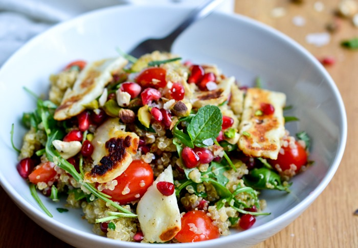 Triple Berry Salad With Halloumi Recipe — Dishmaps
